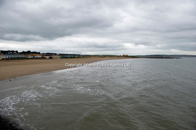 Pictured: A general view of Porthcawl beach in Bridgend, Wales, UK. Monday 17 September 2018<br /> Re: Storm Helene is set to hit parts of Wales according to the Met Office.<br /> There is a yellow warning from 9pm and is expected to last until 6pm on Tuesday.<br /> Winds are likely to reach 40mph to 50mph with top gusts of up to 60mph.