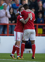 Barrie McKay of Nottingham Forest is congratulated by Michael Mancienne after scoring during the Sky Bet Championship match between Nottingham Forest and Millwall at the City Ground, Nottingham, England on 4 August 2017. Photo by James Williamson / PRiME Media Images.