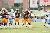 September 7, 2009; Hamilton, ON, CAN; Hamilton Tiger-Cats linebacker Ray Mariuz (44) recovers the ball on a punt to the Argos for a touchdown, but was called back on penalties. CFL football - the Labour Day Classic - Toronto Argonauts vs. Hamilton Tiger-Cats at Ivor Wynne Stadium. The Tiger-Cats defeated the Argos 34-15. Mandatory Credit: Ron Scheffler.