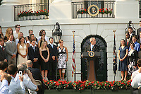 17 June 2007: Captains Theresa Logar and Anne Yelsey of the 2006 NCAA women's tennis national championship team visit President George Bush at the White House in Washington, D.C.