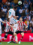 Lucas Vazquez of Real Madrid heads the ball during the La Liga 2017-18 match between Real Madrid and Athletic Club Bilbao at Estadio Santiago Bernabeu on April 18 2018 in Madrid, Spain. Photo by Diego Souto / Power Sport Images