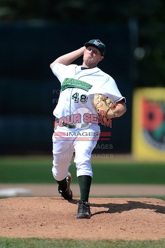 Jamestown Jammers pitcher Henry Hirsch (48) during a game against the Brooklyn Cyclones on August 4, 2013 at Russell Diethrick Park in Jamestown, New York.  Jamestown defeated Brooklyn 9-5.  (Mike Janes/Four Seam Images)