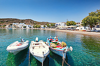 Fishing boats in the port of Psathi in Kimolos, Greece