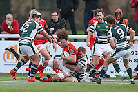 Benjamin Pienaar of London Welsh is tackled during the Greene King IPA Championship match between Ealing Trailfinders and London Welsh RFC at Castle Bar , West Ealing , England  on 26 November 2016. Photo by David Horn / PRiME Media Images