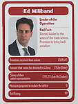 "© Joel Goodman - 07973 332324 . No syndication permitted . 29/09/2013 . Manchester , UK . Ed Miliband . "" Top Trumped by the Unions "" cards handed out at the Conservative Party Conference . The Conservative Party Conference at Manchester Central . Photo credit : Joel Goodman"