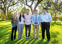 From left, Caroline Arnall, Cheyenne Orozco, Raul Navarro, Connor Saludares and Allen Li<br /> Occidental College's Undergraduate Research Center hosts their annual Summer Undergraduate Research Conference on July 31, 2019. Student researchers presented their work as either oral or poster presentations at this final conference. The program lasts 10 weeks and involves independent research in all departments.<br /> (Photo by Marc Campos, Occidental College Photographer)