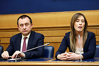 Ettore Rosato and Maria Elena Boschi<br /> Rome April 4th 2019. Press conference of Democratic Party about the bus accident happened 3 years ago in Freginals, Spain in which 7 Italian girls lost their lives, to press the Italian Government to ask for justice to the Spanish authorities.<br /> photo di Samantha Zucchi/Insidefoto