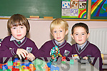 Joshua O'Mora, Keelan O'Foghlu and Mark O'Clumhain during their first day in Gaelscoil Faithlean in Killarney on Monday.   Copyright Kerry's Eye 2008