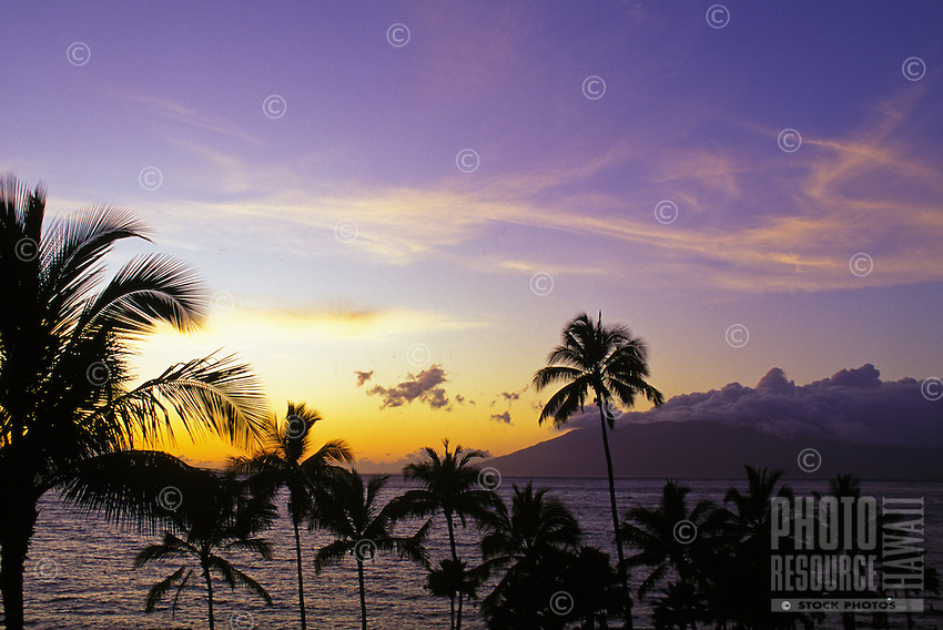 Sunset at Wailea beach, Maui, with the island of Molokai in distance