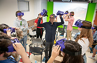 Occidental College students wear virtual reality (VR) headsets and use apps on their phones to experience the immersive medium in Aleem Hossain, Assistant Professor of Media Production and Digital Storytelling Media Arts and Culture Department, 360 degree video filmmaking class, MAC 240: Intro to Media Production, on Nov. 13, 2018 in Weingart 10.<br /> (Photo by Marc Campos, Occidental College Photographer)