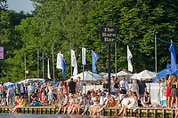 """Henley on Thames, United Kingdom, 3rd July 2018, Friday,  """"Henley Royal Regatta"""",  View, Spectator's sitting in the bank, keeping cool,  Henley Reach, River Thames, Thames Valley, England, UK."""