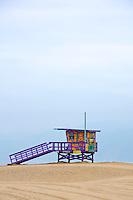 Colorful lifeguard hut on Venice Beach