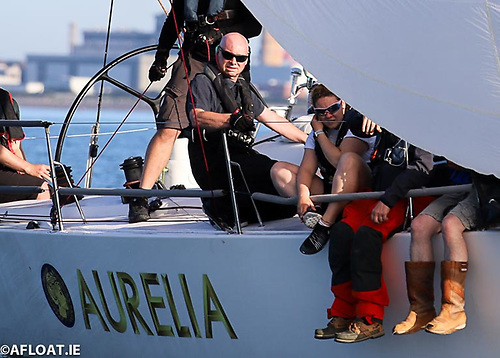 Chris Power Smith (pictured centre kneeling) on his J122 Aurelia is racing the first Fastnet 450