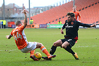 Blackpool's Jay Spearing challenges Walsall's Joe Edwards<br /> <br /> Photographer Richard Martin-Roberts/CameraSport<br /> <br /> The EFL Sky Bet League One - Blackpool v Walsall - Saturday 10th February 2018 - Bloomfield Road - Blackpool<br /> <br /> World Copyright &copy; 2018 CameraSport. All rights reserved. 43 Linden Ave. Countesthorpe. Leicester. England. LE8 5PG - Tel: +44 (0) 116 277 4147 - admin@camerasport.com - www.camerasport.com