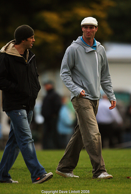 Old Boys University All Black Conrad Smith and Jason Eaton leave after watching the match..Swindale Shield. Wellington Club Rugby.Hutt Old Boys Marist v Old Boys-University at Hutt Recreation Ground, Lower Hutt. Saturday, 10 Mayl 2008. Photo: Dave Lintott/lintottphoto.co.nz
