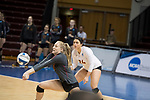 GRAND RAPIDS, MI - NOVEMBER 18: Isabelle Taylor (9) of Claremont-Mudd-Scripps digs a ball during the Division III Women's Volleyball Championship held at Van Noord Arena on November 18, 2017 in Grand Rapids, Michigan. Claremont-M-S defeated Wittenberg 3-0 to win the National Championship. (Photo by Doug Stroud/NCAA Photos via Getty Images)