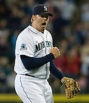 Seattle Mariners' closing pitcher J.J. Putz lets out a hoop after Cincinnati Reds Scott Hatteberg sounded out in the ninth inning at Safeco Field in Seattle on June 24, 2007.  The Mariners beat the Reds 3-2. Jim Bryant Photo. ©2010. ALL RIGHTS RESERVED.