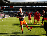 Jack O'Connell of Sheffield Utd heads a brick during the English League One match at  Stadium MK, Milton Keynes. Picture date: April 22nd 2017. Pic credit should read: Simon Bellis/Sportimage
