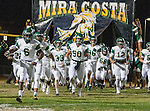 San Pedro, CA 11/27/15 - Jemal Williams (Mira Costa #6), Jacob Magleby (Mira Costa #50), David Arredondo (Mira Costa #12) in action during the CIF Western Division semi-final game between Mira Costa and Palos Verdes.  Palos Verdes defeated Mira Costa to advance to the Western Division finals.