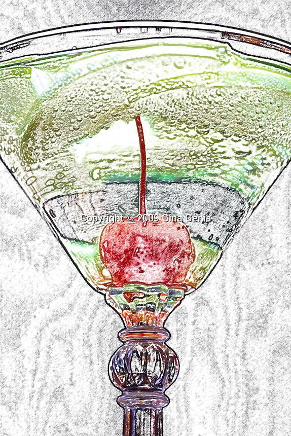 Illustrated apple martini