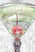 Illustrated apple martini