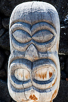 Close-up of a guardian statue or ki'i in Pu'uhonua o Honaunau National Historical Park (City of Refuge), Big Island.