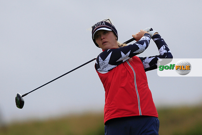 Jessica Korda of Team USA on the 9th tee during Day 2 Foursomes at the Solheim Cup 2019, Gleneagles Golf CLub, Auchterarder, Perthshire, Scotland. 14/09/2019.<br /> Picture Thos Caffrey / Golffile.ie<br /> <br /> All photo usage must carry mandatory copyright credit (© Golffile   Thos Caffrey)