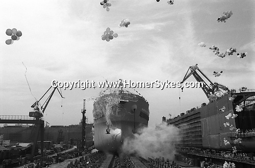 The Peoples Republic of China. Shanghai. 2000.  Hudong Shipyard: the launch of the Maddalena d'Amato on 16th of September 2000.