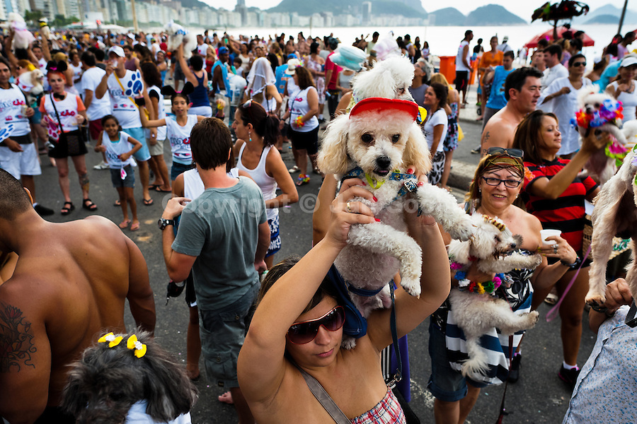 A woman holds her Poodle dog, dressed in a fancy costume, during the Blocao pet carnival show at Copacabana beach in Rio de Janeiro, Brazil, 12 February 2012.