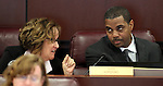 Nevada Assemblywoman Debbie Smith, D-Sparks, and Senate Majority Leader Steven Horsford, D-North Las Vegas, talk in committee on Tuesday, May 3, 2011, at the Legislature in Carson City, Nev. .Photo by Cathleen Allison
