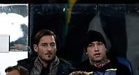 Calcio, Serie A: AS Roma - Atalanta, Roma, stadio Olimpico, 6 gennaio 2018.<br /> AS Roma's former captain Francesco Totti (l) and Roma's Radja Nainggolan (r) wait for the start of the Italian Serie A football match between AS Roma and Atalanta at Rome's Olympic stadium, January 6 2018.<br /> UPDATE IMAGES PRESS/Isabella Bonotto