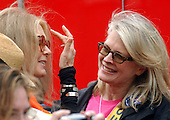 """Actress Candace Bergen, right, has a conversation with women's movement icon Gloria Steinem, left, back stage at the """"March for Women's Lives"""" in Washington, DC on April 25, 2004..Credit: Ron Sachs / CNP"""