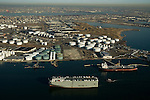 Aerial view of the Ocean Highway (Panama) heading west through the New York Harbor, towards the Port of Newark, New Jersey