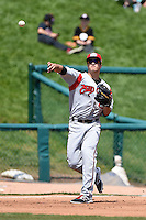 Carolina Mudcats first baseman James Roberts (36) throws to first during a game against the Frederick Keys on April 26, 2014 at Harry Grove Stadium in Frederick, Maryland.  Carolina defeated Frederick 4-2.  (Mike Janes/Four Seam Images)