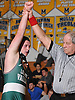 Bryce Dusold of Locust Valley raises his arm after a victory by pin over Sam Mahoney of Massapequa (not in picture) at 182 pounds in a non-league varsity wrestling meet at Massapequa High School on Wednesday, Dec. 16, 2015.