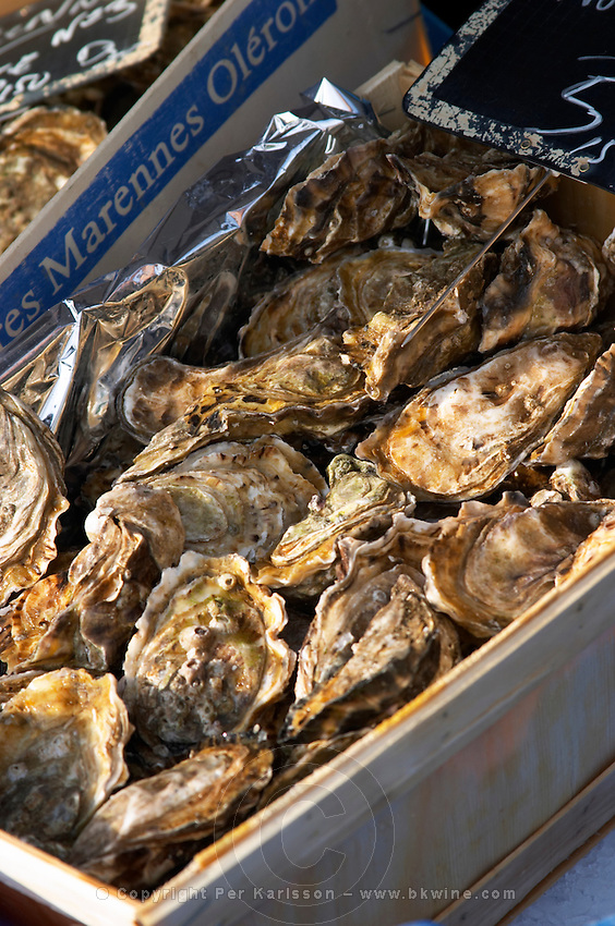 On a street market. Oysters. On Les Quais. Bordeaux city, Aquitaine, Gironde, France