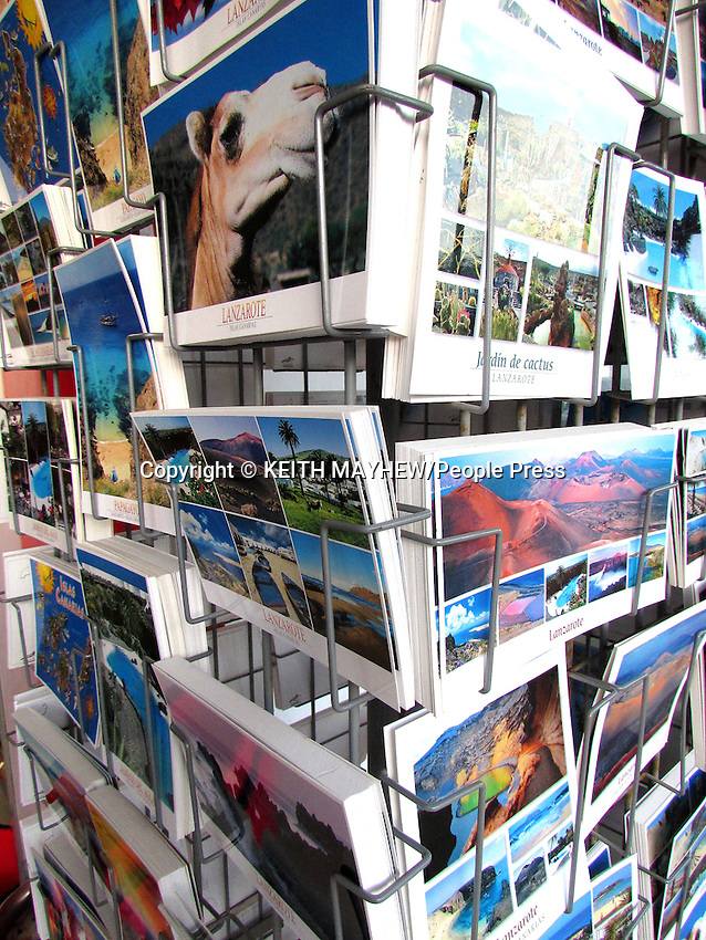 LANZAROTE, CANARY ISLANDS -  Postcards in the beach resort of Costa Teguise during January 2016 in Lanzarote, Canary Islands<br /> <br /> Photo by Keith Mayhew