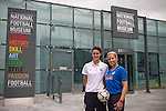 England women's footballers Jill Scott (left) and Rachel Brown pictured at the opening of the new National Football Museum in Manchester. The new museum, based in the futuristic Urbis building in the city centre of Manchester was set to open to the public on 6th July 2012. The National Football Museum, which was previously located in Preston, Lancashire, was expected to attract around 350,000 visitors each year.