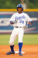 Alex Newman (24) of the Burlington Royals stops at second base after hitting a double against the Pulaski Mariners at Burlington Athletic Park on June20 2013 in Burlington, North Carolina.  The Royals defeated the Mariners 2-1 in 13 innings.  (Brian Westerholt/Four Seam Images)