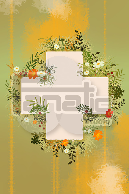 Illustrative image of plus sign surrounded with herbal plants