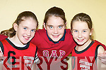 FUN: Michaela Ahern, Aoife Nolan and Orla White having a ball at the final of the St Mary's basketball blitz in Castleisland Community Centre on Sunday.   Copyright Kerry's Eye 2008