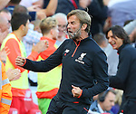 Jurgen Klopp manager of Liverpool glasses fall off his while celebrating the second goal during the Premier League match at Anfield Stadium, Liverpool. Picture date: September 10th, 2016. Pic Simon Bellis/Sportimage