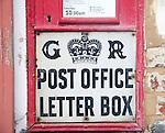 King George V Post Office Letter Box close up detail, UK