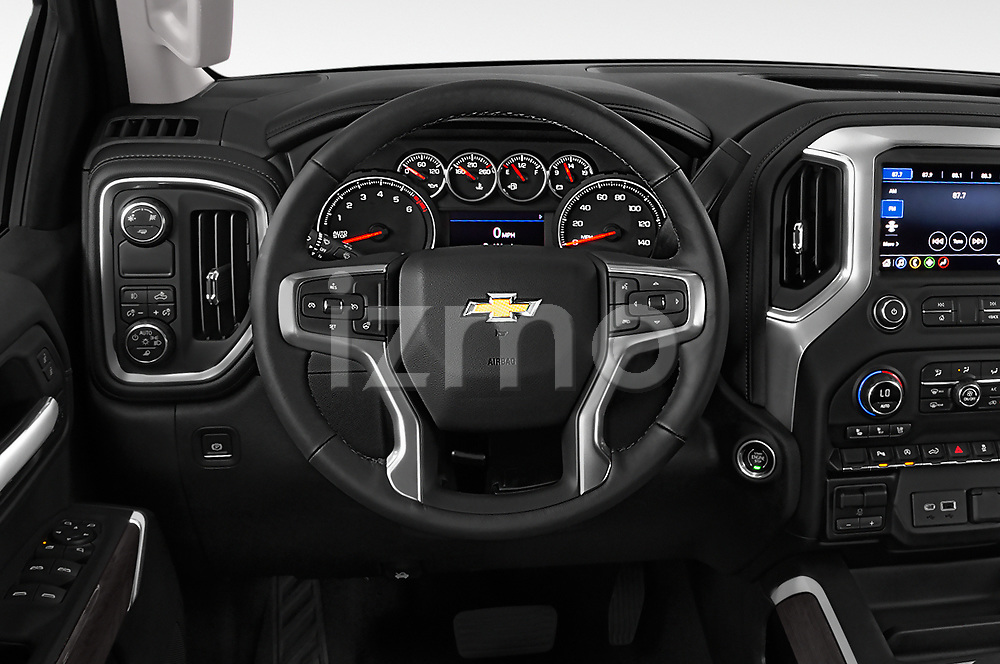 Car pictures of steering wheel view of a 2019 Chevrolet Silverado 1500 LTZ 4 Door Pick Up
