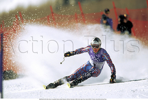 BODE MILLER (USA) silver medalist, Mens Giant Slalom, Winter Olympics 2002, Salt Lake City, Utah, 020221. Photo: Glyn Kirk/Action Plus...2002.skiing ski skier skiers.alpine.winter sport sports wintersport wintersports.olympic games