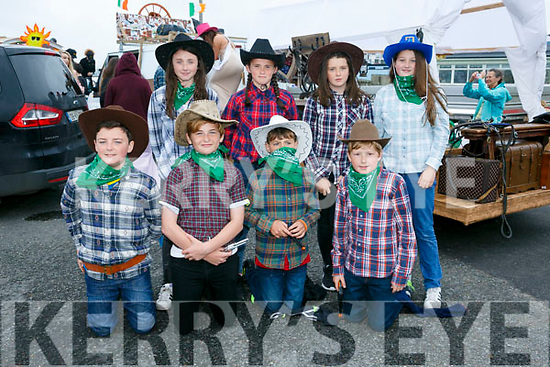Front l-r Shane Lawlor, Evan Casey, Ger Behan, Eoin Stack Back l-r Niamh Gentleman, Melanie Dineen Higgins, Katie Ellen Riedy and Kate Kenny at the  Ballyheigue Summer Festival Grand Parade on Sunday