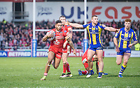 Picture by Allan McKenzie/SWpix.com - 04/03/2017 - Rugby League - Betfred Super League - Salford Red Devils v Warrington Wolves - AJ Bell Stadium, Salford, England - Salford's Greg Johnson breaks free from the Warrington defences.