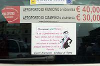 Roma 7 Giugno 2011.Piazza Bocca della Verita'.Sciopero dei tassisti proclamato da 7 sigle sindacali che chiedono il cambiamento del regolamento comunale in via di approvazione in Campidoglio.Una vignetta contro Gianni Alemanno