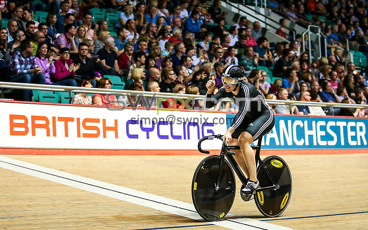 Picture by Alex Whitehead/SWpix.com - 27/09/2014 - Cycling - 2014 British Cycling National Track Championships - Day 4 - National Cycling Centre, Manchester, England - West Midlands' Danielle Khan and Jessica Varnish (pictured) win Gold in the Women's Team Sprint final.