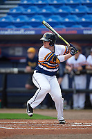 Canisius College Golden Griffins catcher Christ Conley (13) at bat during the first game of a doubleheader against the Michigan Wolverines on February 20, 2016 at Tradition Field in St. Lucie, Florida.  Michigan defeated Canisius 6-2.  (Mike Janes/Four Seam Images)
